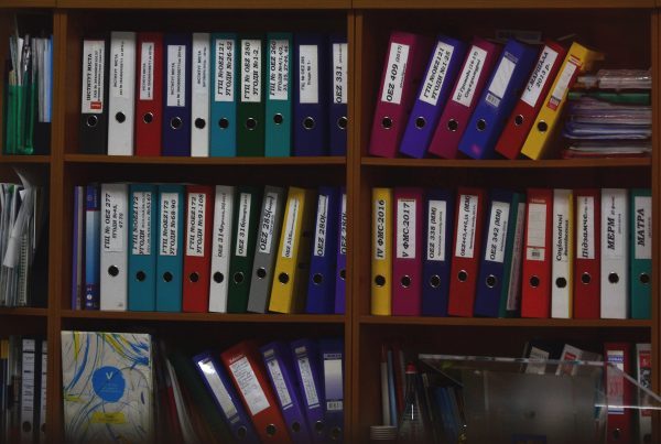 Binders in a cabinet