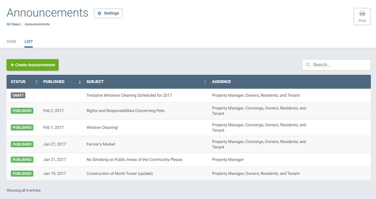 Screenshot of Announcements feature